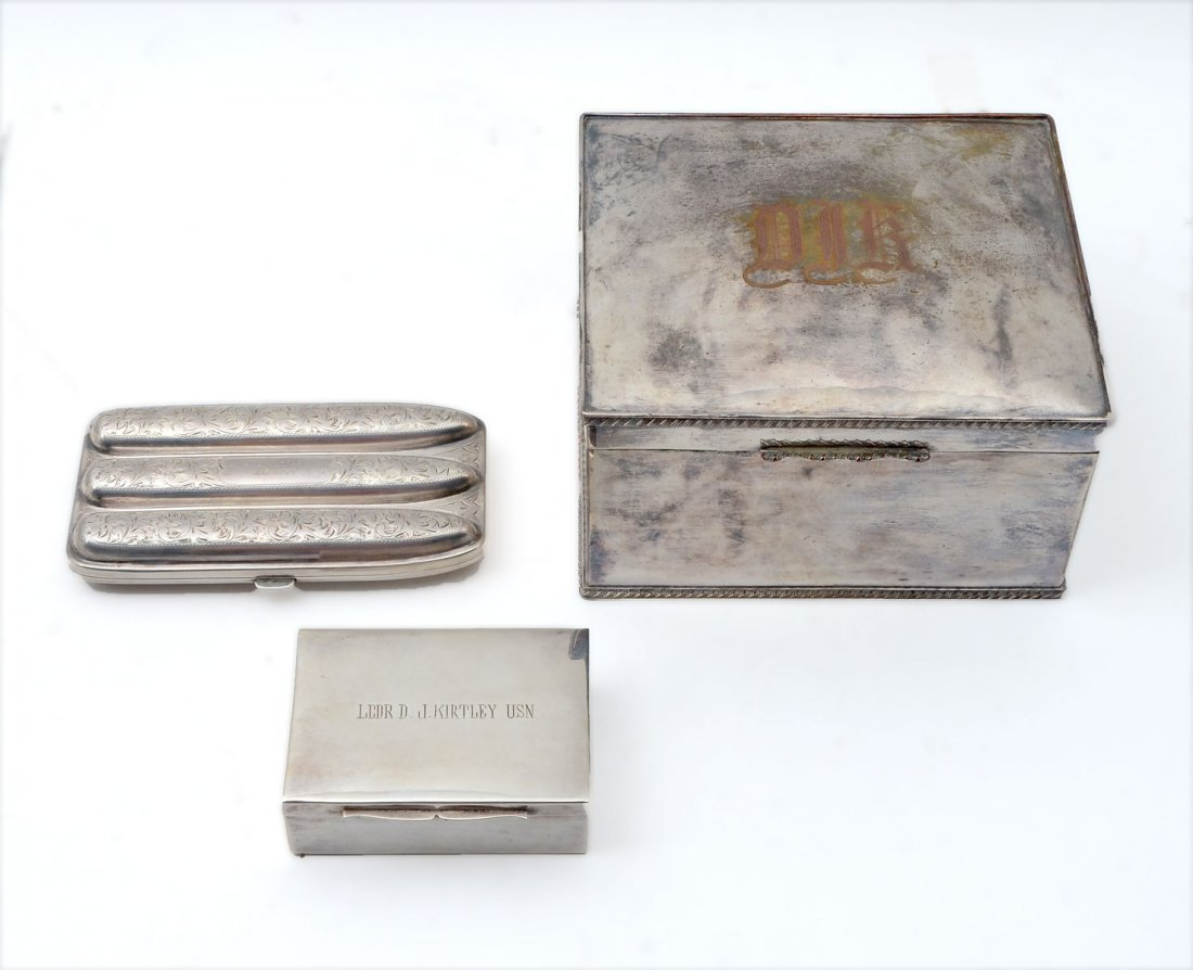 CAPT. DANIEL KIRTLEY TOBACCO BOX SILVER CASE AND CIGAR