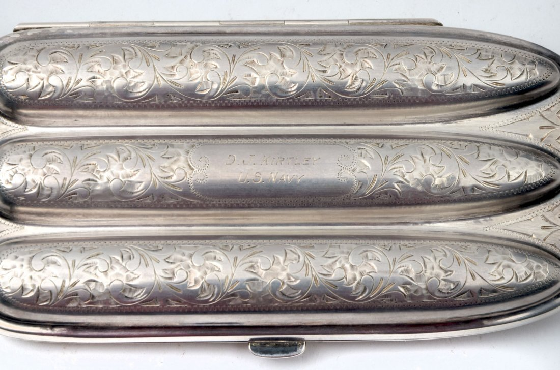 CAPT. DANIEL KIRTLEY TOBACCO BOX SILVER CASE AND CIGAR - 3
