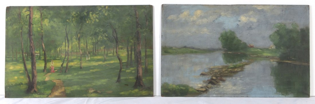 2 LANDSCAPE PAINTINGS SIGNED E. MEAGHER