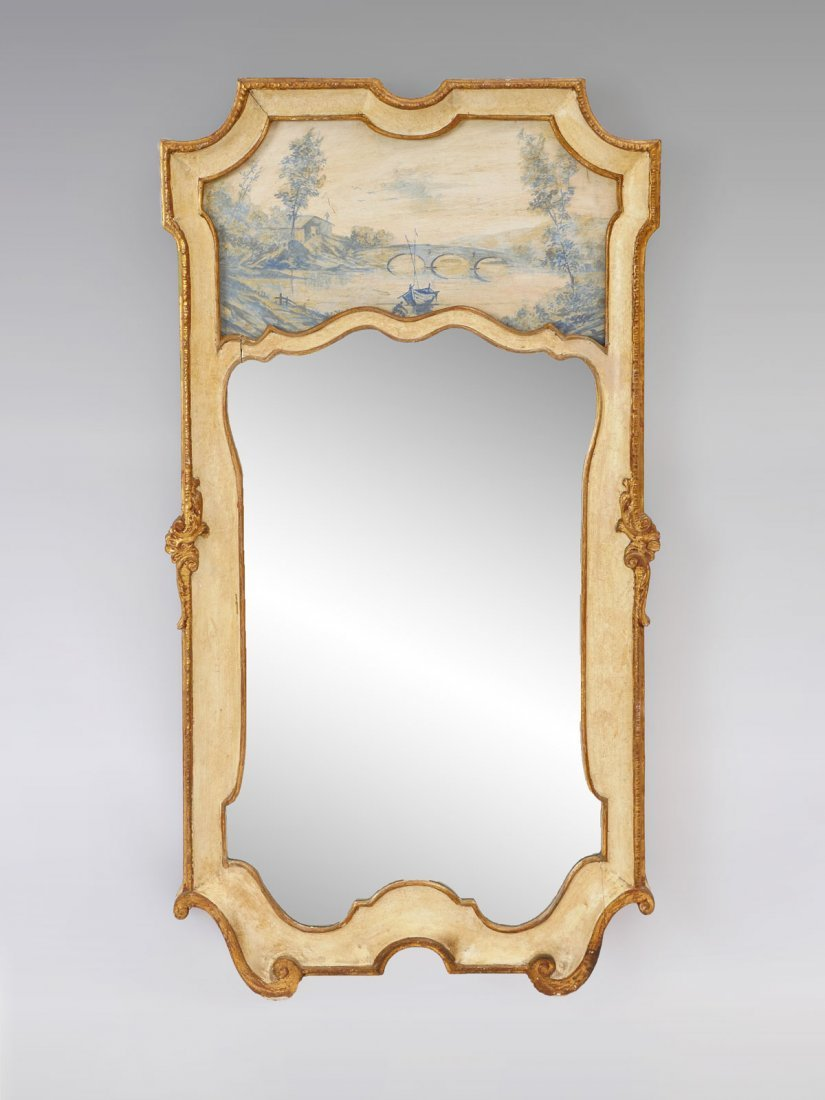 GILT FRENCH MIRROR WITH PAINTED SCENE