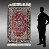 """PERSIAN QUM OR NAIN HK SILK RUG, 3'7"""" X 5'1"""""""