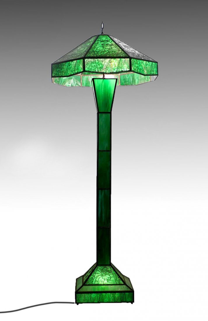 LARGE ETCHED METAL OVERLAY FLOOR LAMP