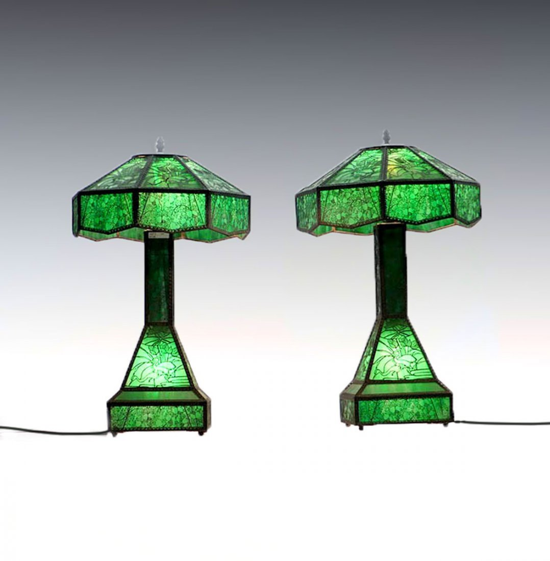 PAIR OF ETCHED METAL OVERLAY TABLE LAMPS