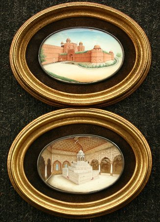 1005: PAIR OF MINIATURE ARCHITECTURAL PAINTINGS / IVORY