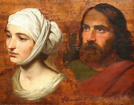 1015: CHRIST & VIRGIN MARY PAINTING VILLEMSENS 1843