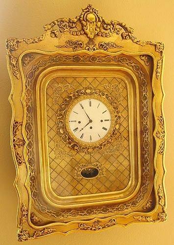1019: VICTORIAN GILT SHADOWBOX FRAMED CLOCK