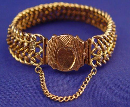 """1023: 14K ANTIQUE GOLD BRACELET 5/8''w. 7.5""""l. 27.8gr"""