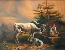 1310 19TH C OILTIN PAINTING MAIDEN WITH COWS