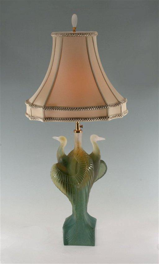 LARGE DAUM PATE DE VERRE HERON LAMP
