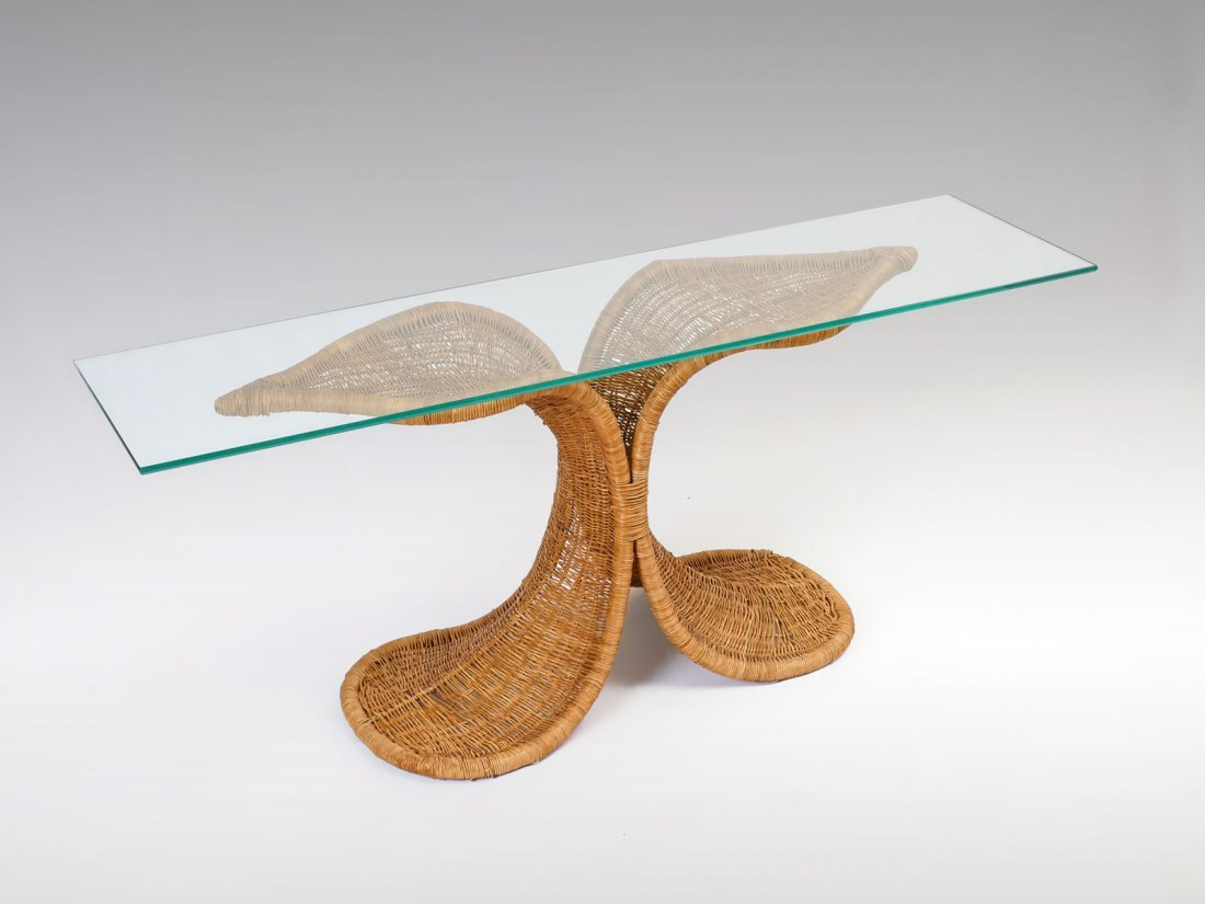 MARIO LOPEZ TORRES ATTRIBUTED WICKER CONSOLE TABLE