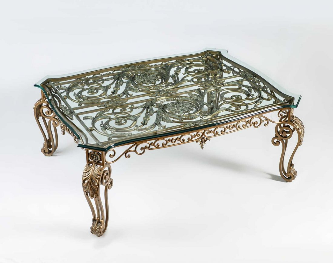 LARGE CAST IRON GLASS TOP COFFEE TABLE