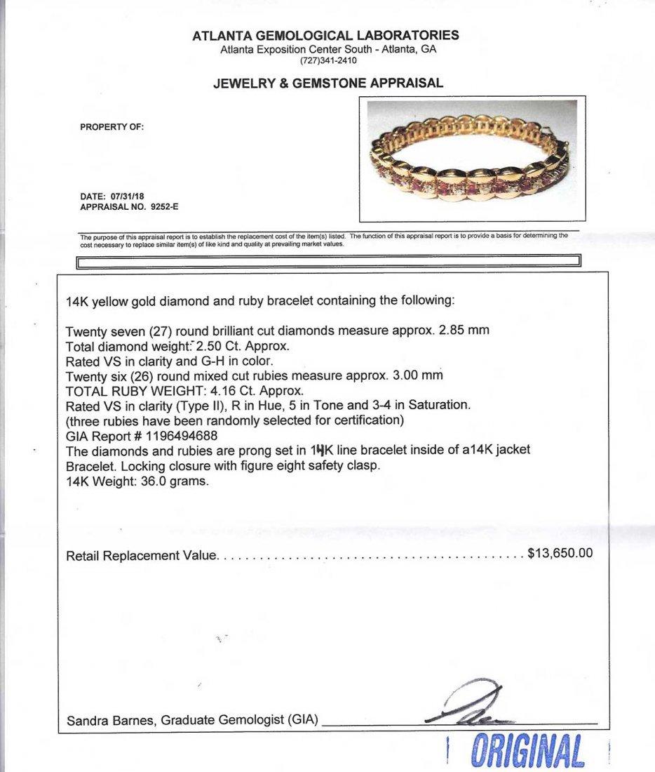 14K DIAMOND & NO HEAT RUBY LINE BRACELET - 4