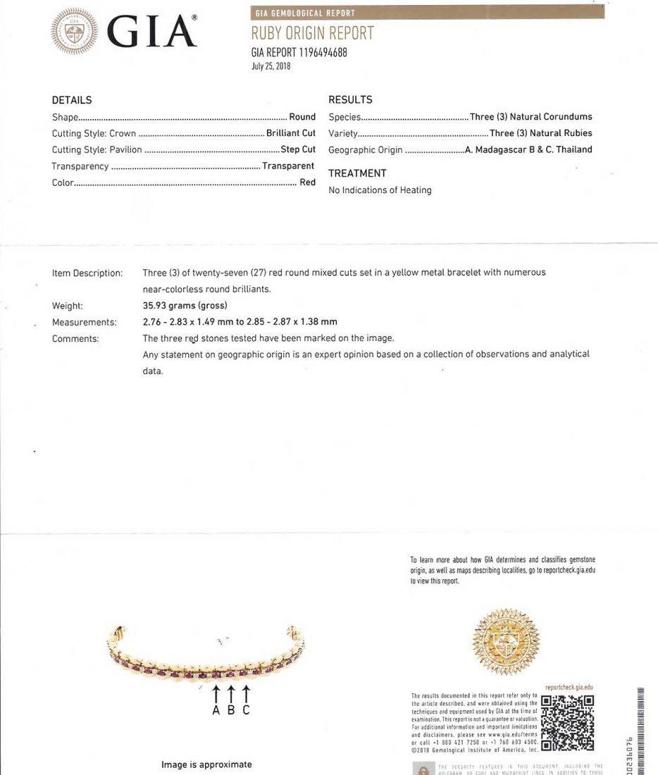 14K DIAMOND & NO HEAT RUBY LINE BRACELET - 5