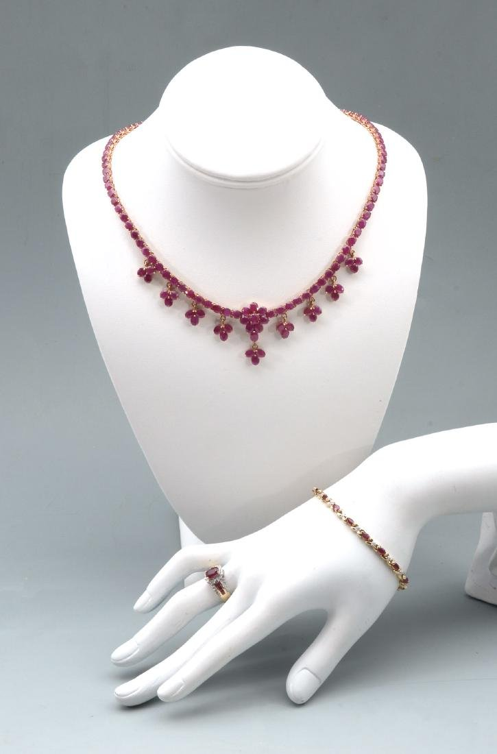 RUBY NECKLACE, BRACELET AND RING