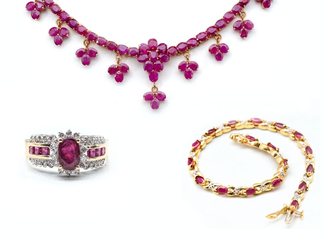 RUBY NECKLACE, BRACELET AND RING - 2