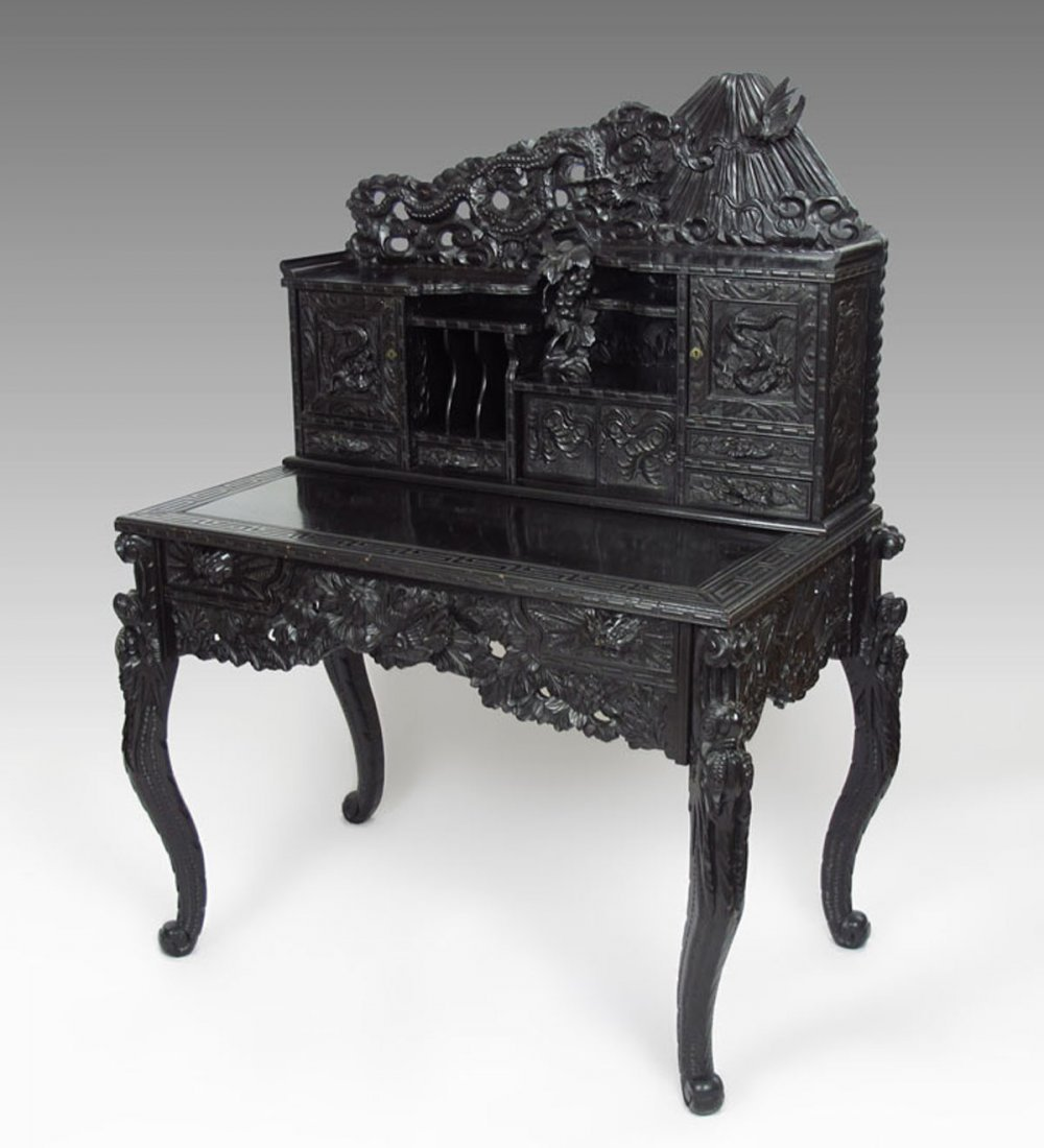 PROFUSELY CARVED CHINESE CARVED DESK