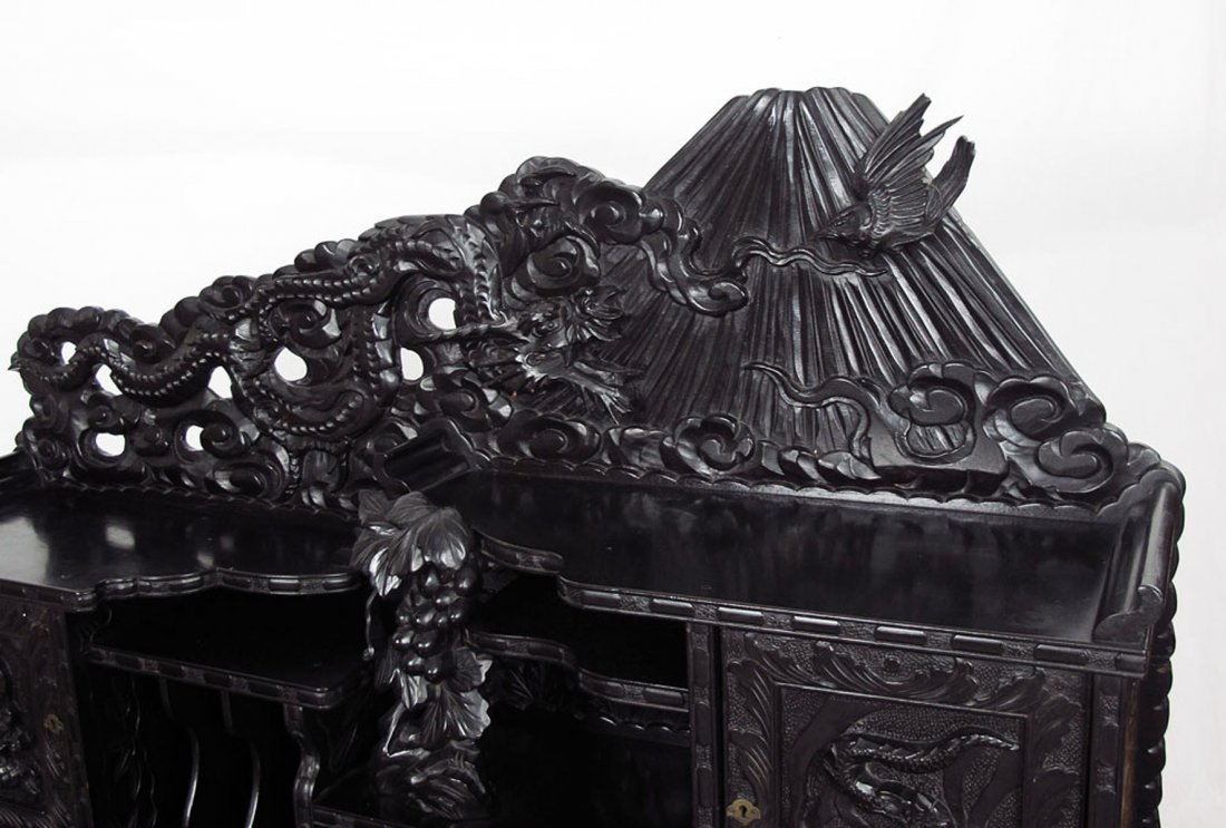 PROFUSELY CARVED CHINESE CARVED DESK - 2