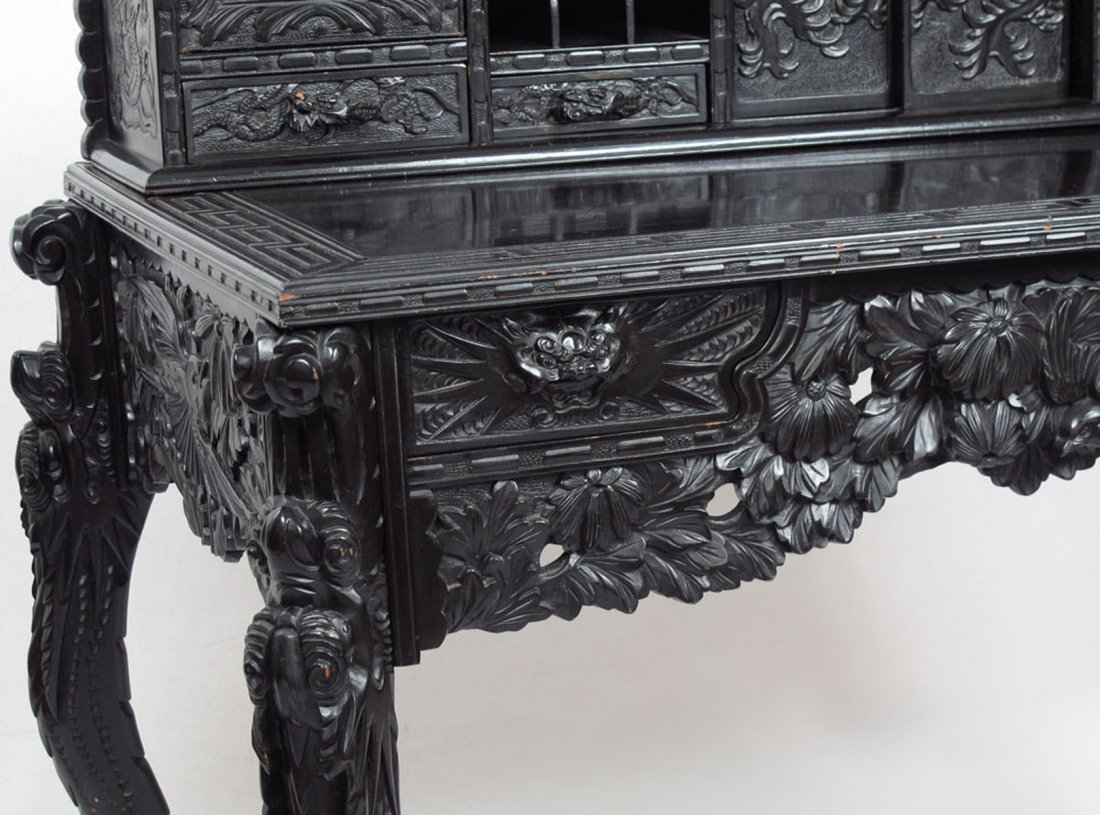PROFUSELY CARVED CHINESE CARVED DESK - 3