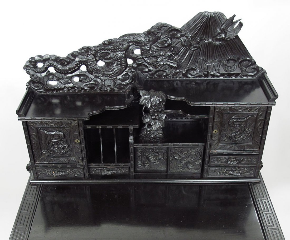PROFUSELY CARVED CHINESE CARVED DESK - 4