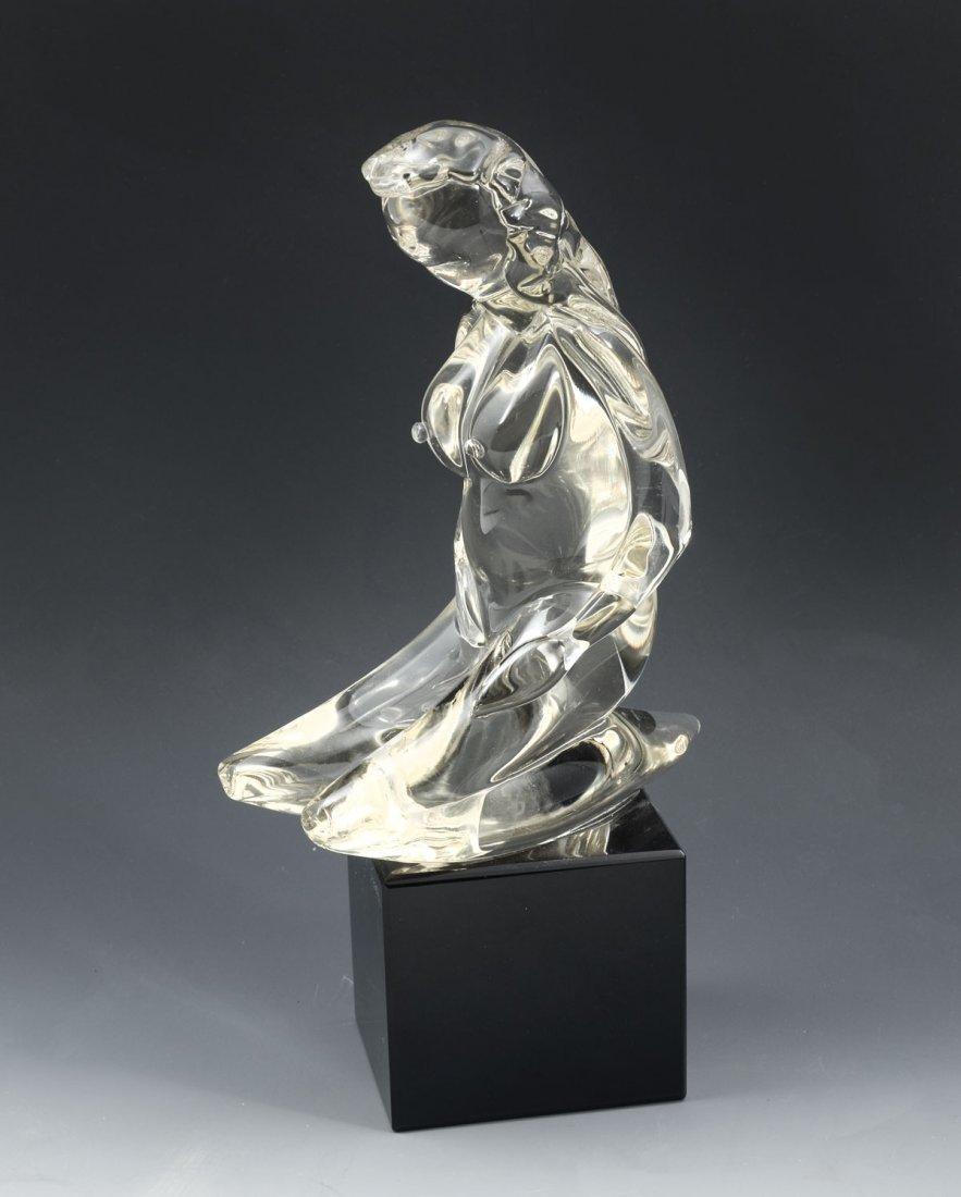 KNEELING NUDE GLASS MURANO SCULPTURE SIGNED E. SCARPA