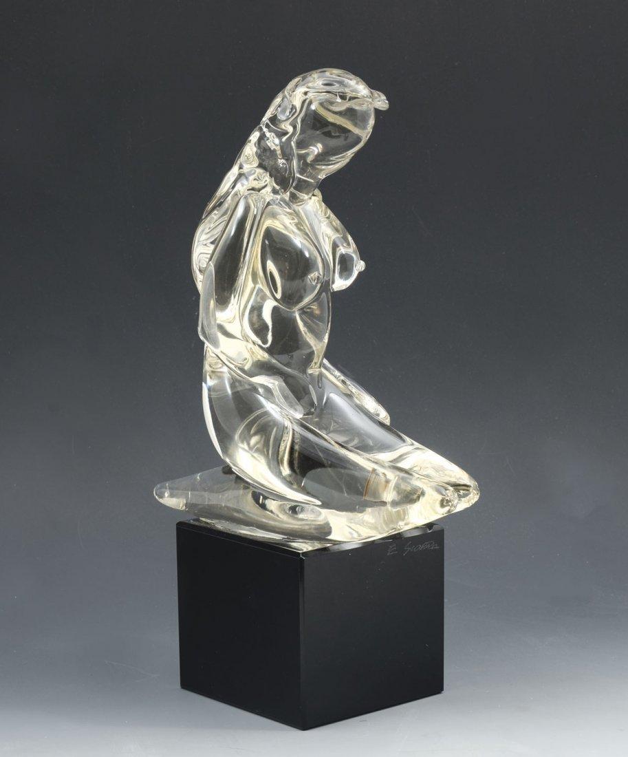 KNEELING NUDE GLASS MURANO SCULPTURE SIGNED E. SCARPA - 2