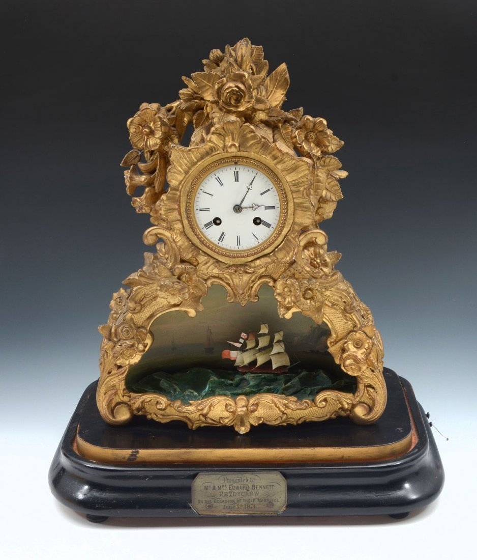 FRENCH AUTOMATION MUSICAL ROCKING SHIP CLOCK - 2