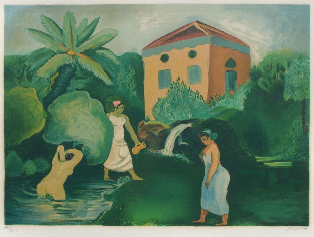 NACHUM GUTMAN LITHOGRAPH BATHING SCENE