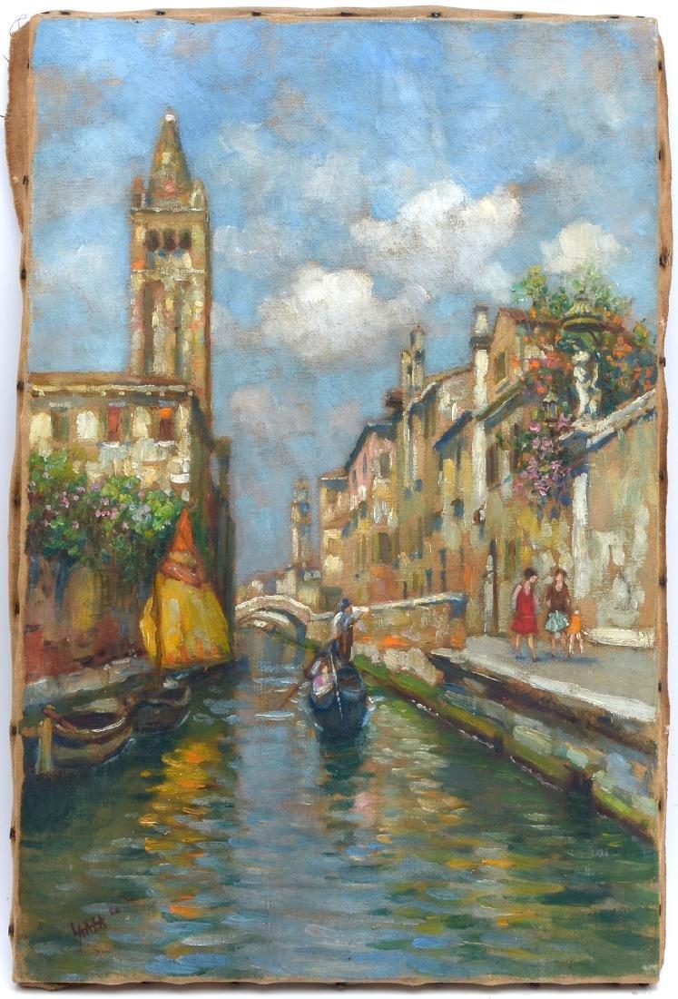 LUIGI LANZA PAINTING VENICE CANAL