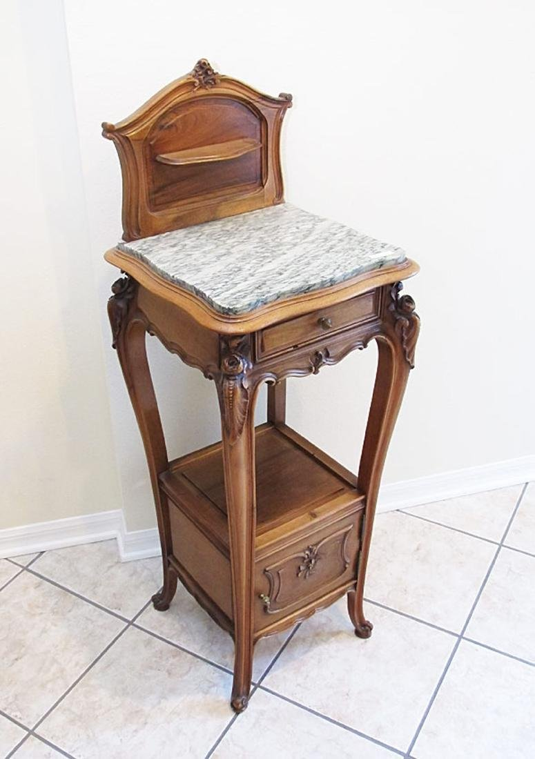 TALL FRENCH WALNUT MARBLE TOP SIDE TABLE
