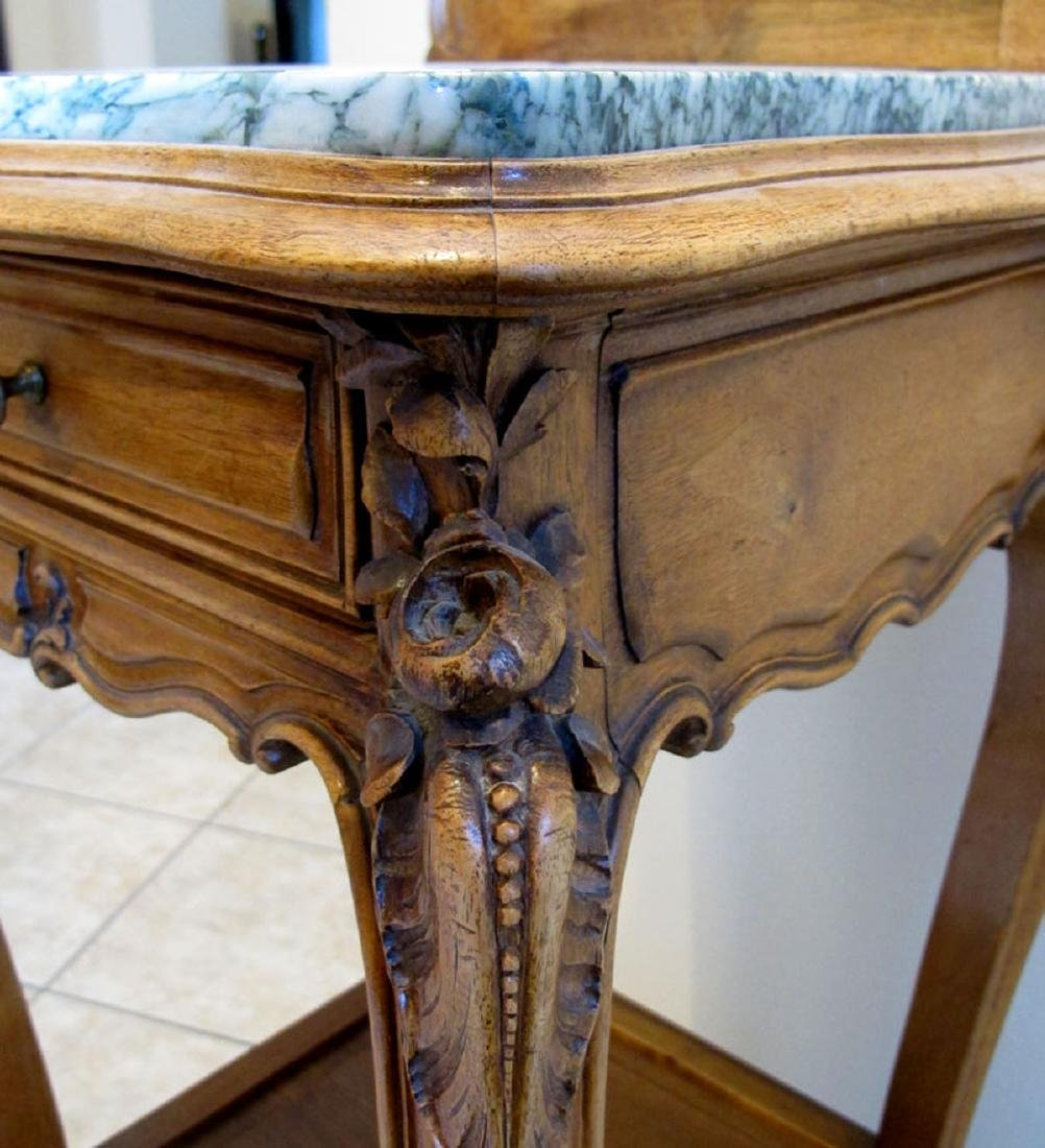 TALL FRENCH WALNUT MARBLE TOP SIDE TABLE - 2