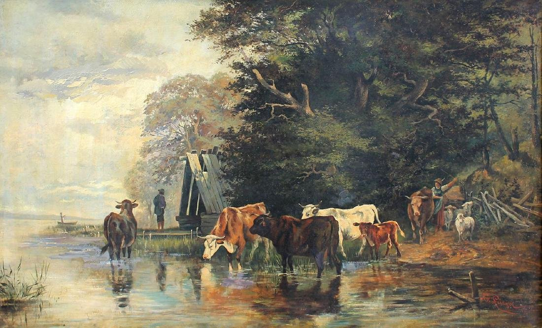 LARGE FEODOR VON LUERZER LANDSCAPE WITH CATTLE