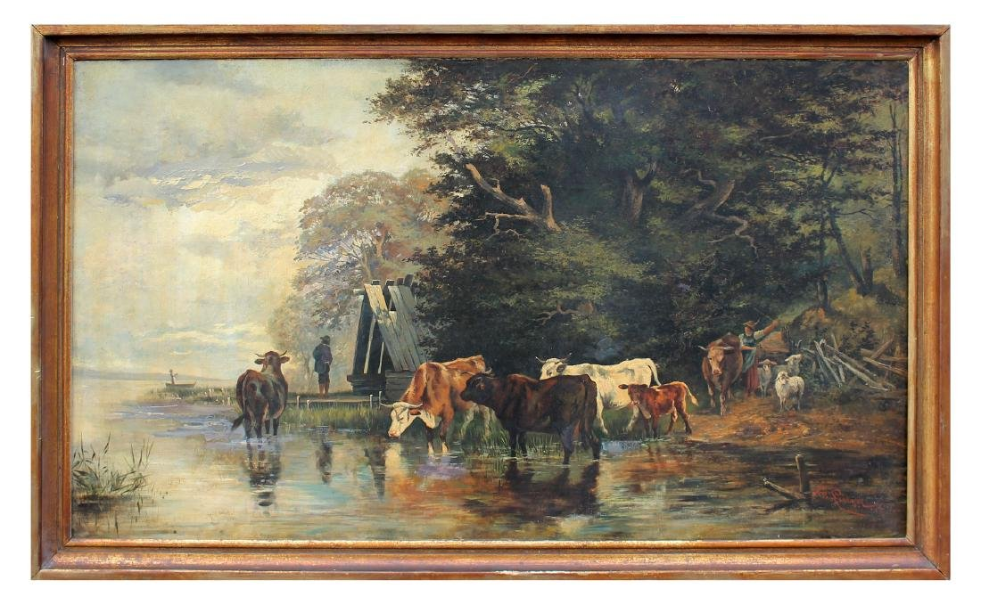 LARGE FEODOR VON LUERZER LANDSCAPE WITH CATTLE - 2