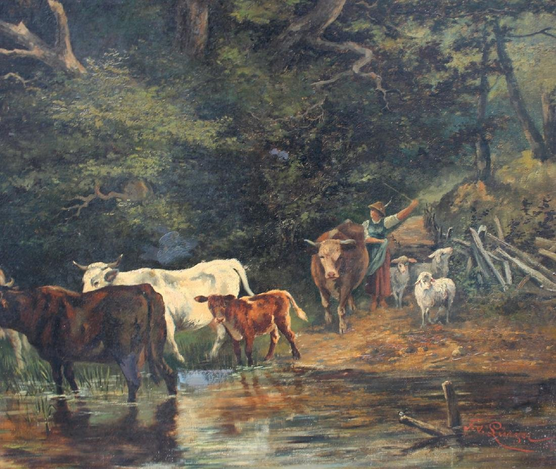 LARGE FEODOR VON LUERZER LANDSCAPE WITH CATTLE - 3