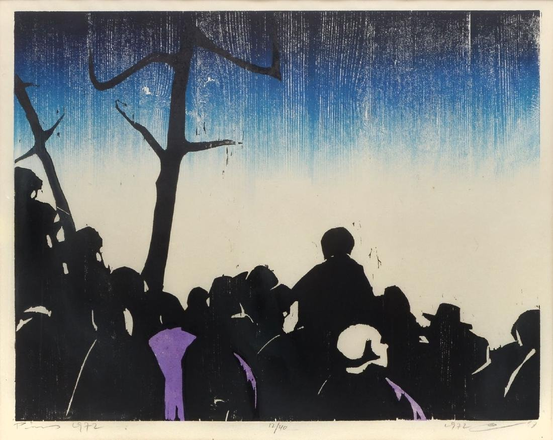 """LARGE JACOB PINS WOODCUT """"THE CROWD"""""""