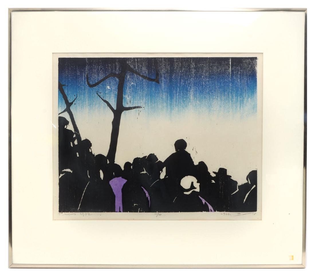 """LARGE JACOB PINS WOODCUT """"THE CROWD"""" - 2"""