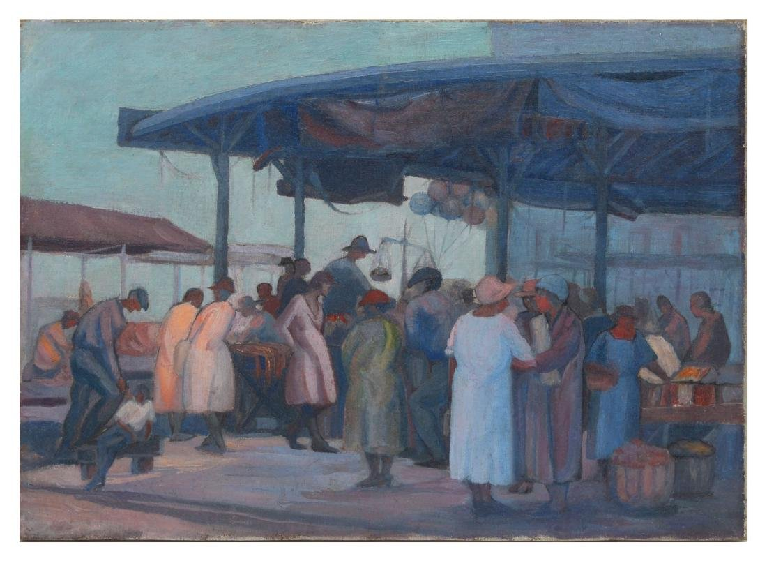 GOOD MYSTERY PAINTING MARKET SCENE