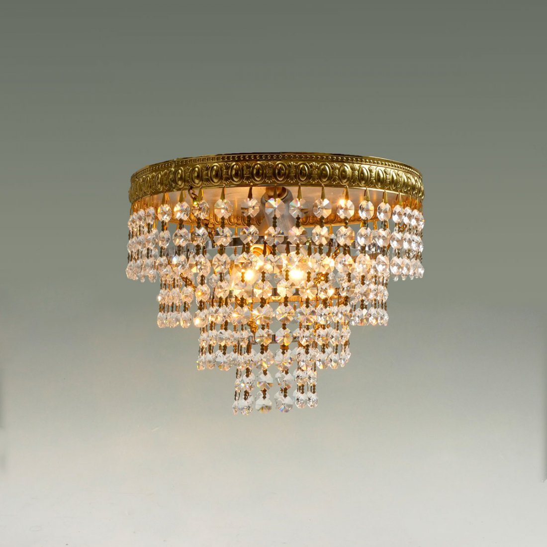 1920's CRYSTAL TIERED CHANDELIER