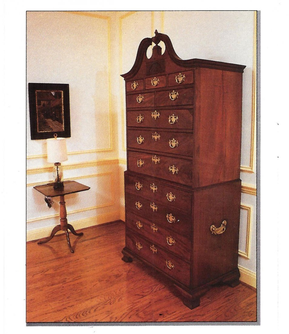 MAHOGANY BONNET TOP CHEST-ON-CHEST