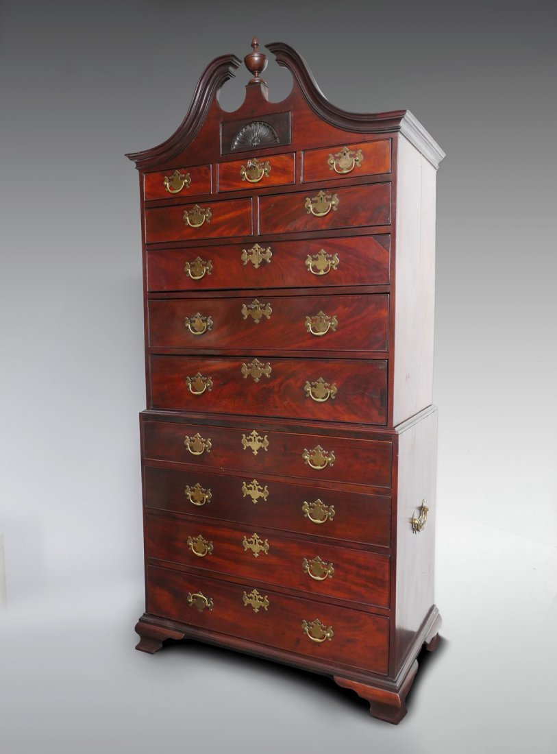 MAHOGANY BONNET TOP CHEST-ON-CHEST - 2