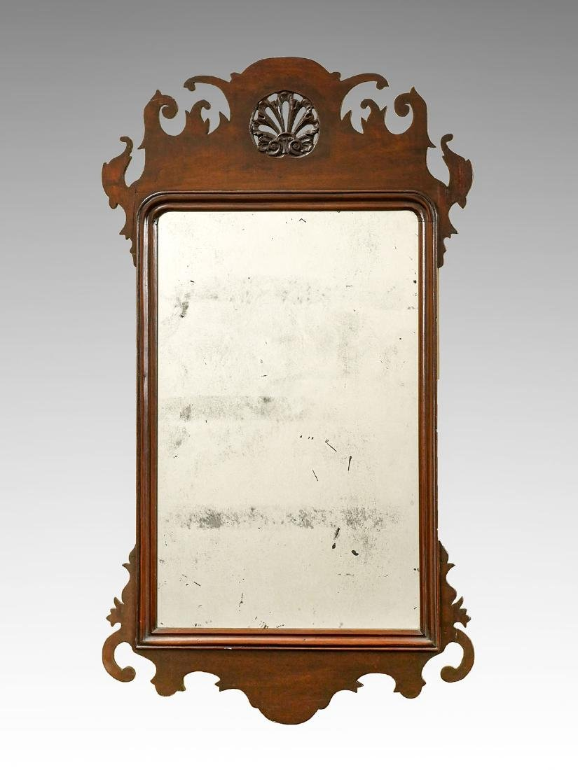CHIPPENDALE MAHOGANY SHELL CARVED MIRROR