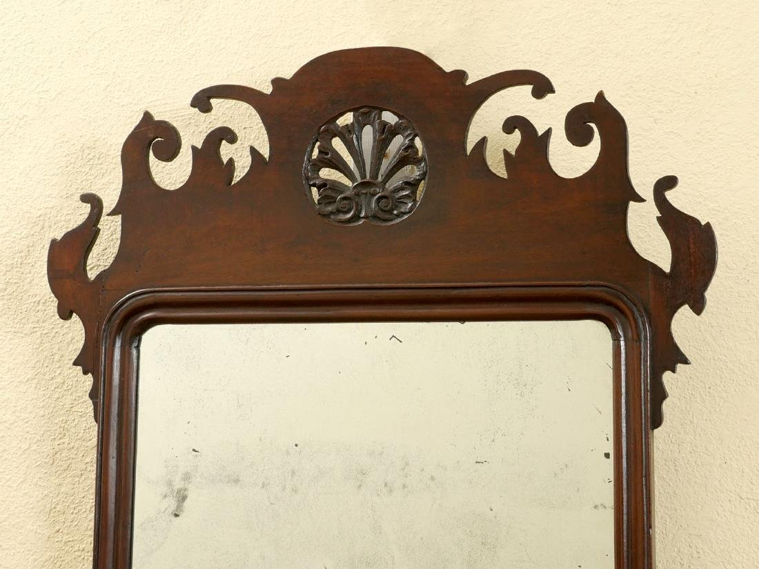 CHIPPENDALE MAHOGANY SHELL CARVED MIRROR - 2