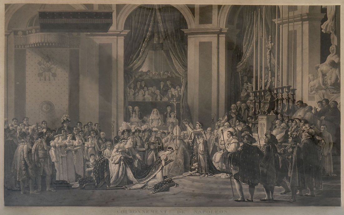LARGE PERIOD ENGRAVING OF THE CORONATION OF NAPOLE