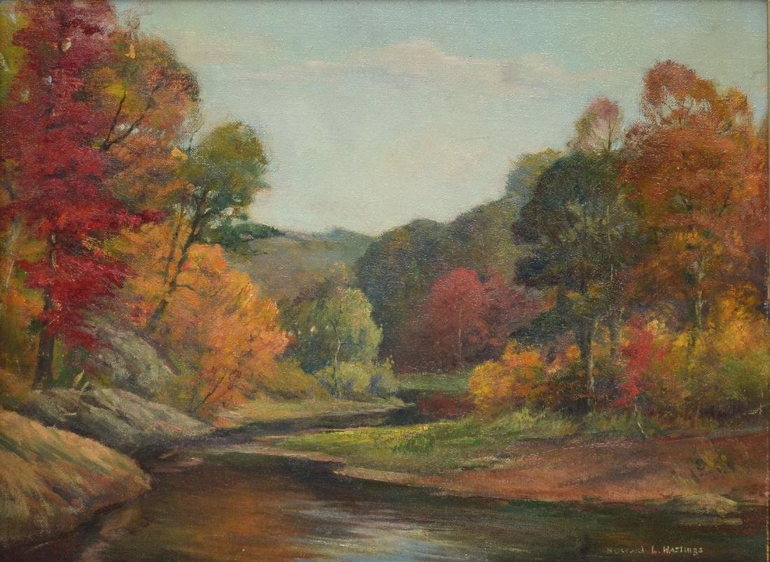 HOWARD HASTINGS AUTUMNAL RIVER LANDSCAPE PAINTING