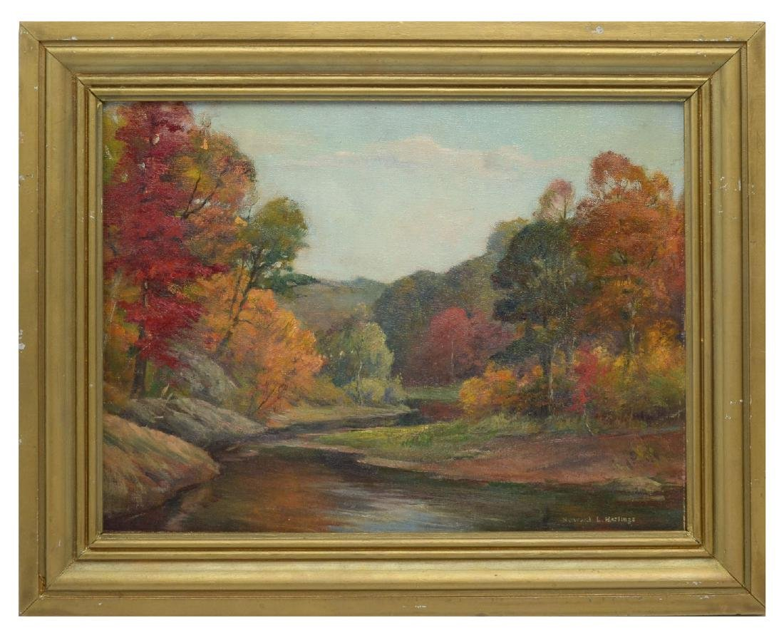 HOWARD HASTINGS AUTUMNAL RIVER LANDSCAPE PAINTING - 2