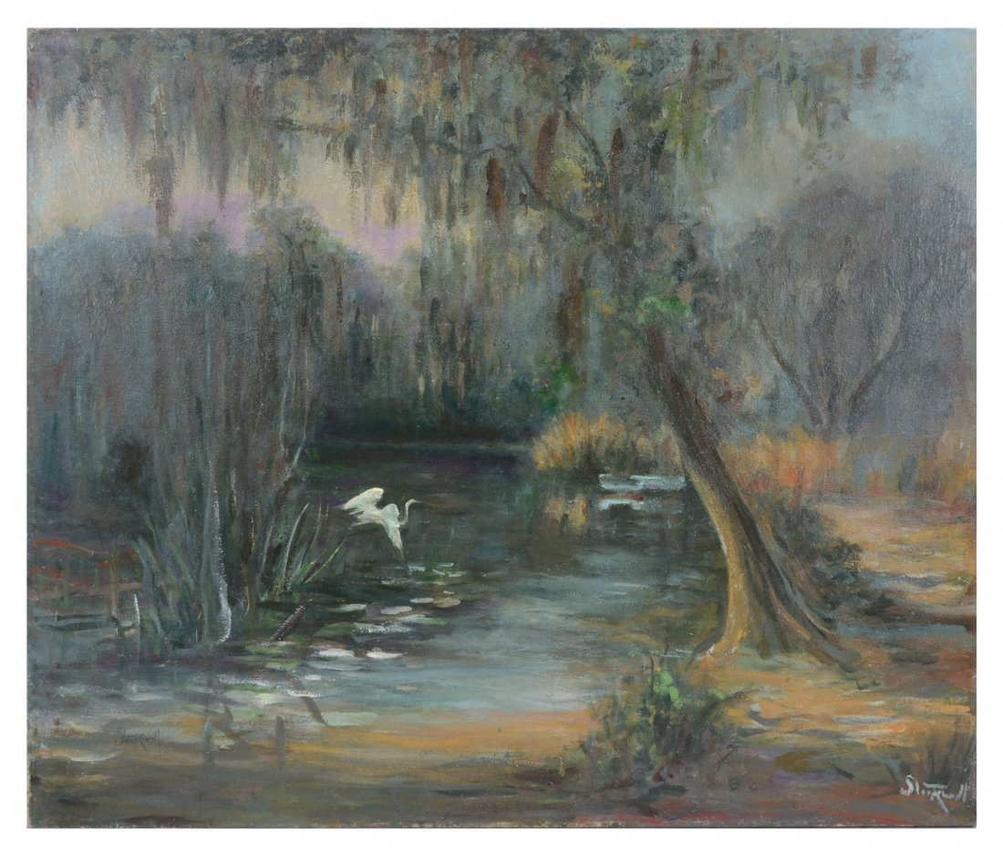 STOCKWELL PAINTING SWAMP SCENE WITH EGRET