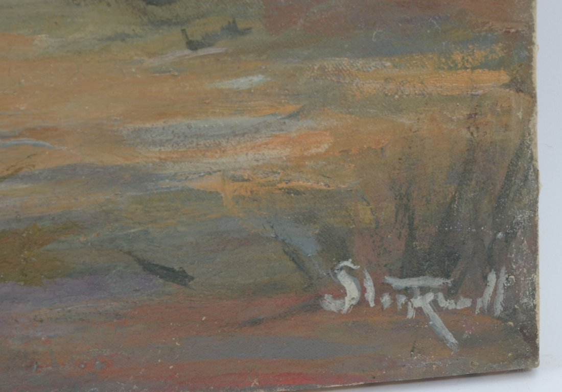 STOCKWELL PAINTING SWAMP SCENE WITH EGRET - 2