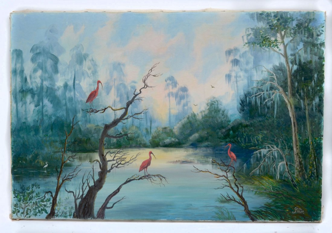 LARSON FL RIVER SCENE WITH FLAMINGOS AND HERONS