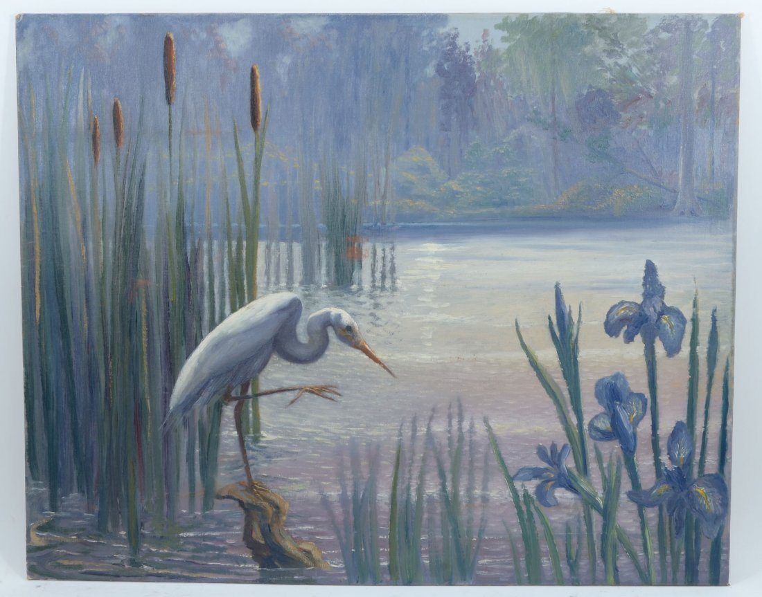 FLORIDA RIVER SCENE WITH HERON BY STOKES