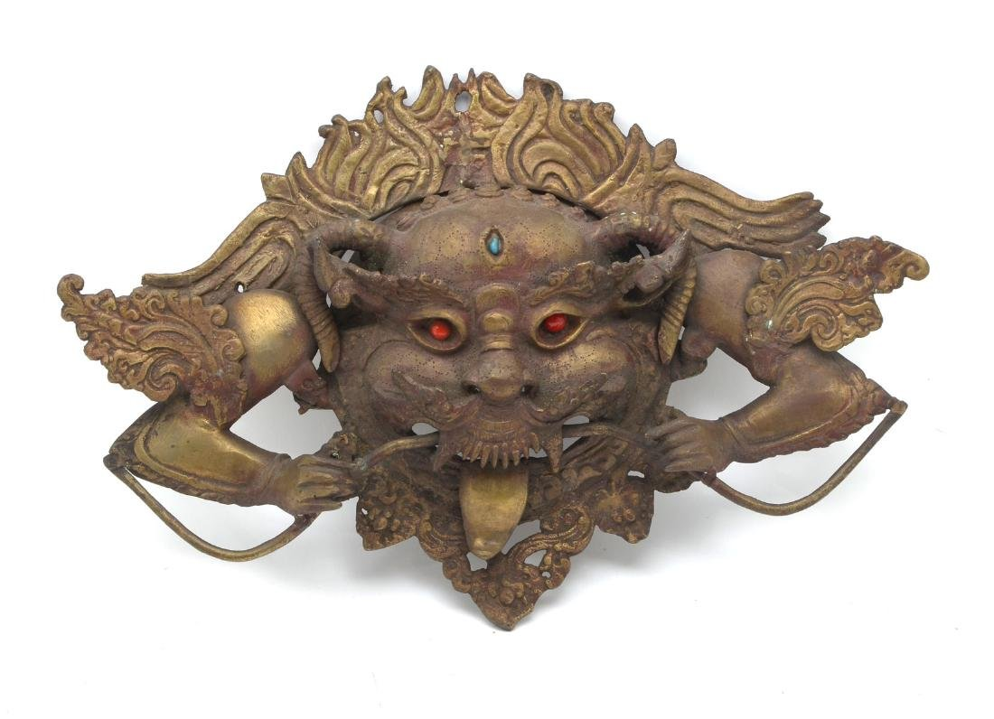 BRONZE TIBETAN THANGKA HEAD WITH STONE INLAY