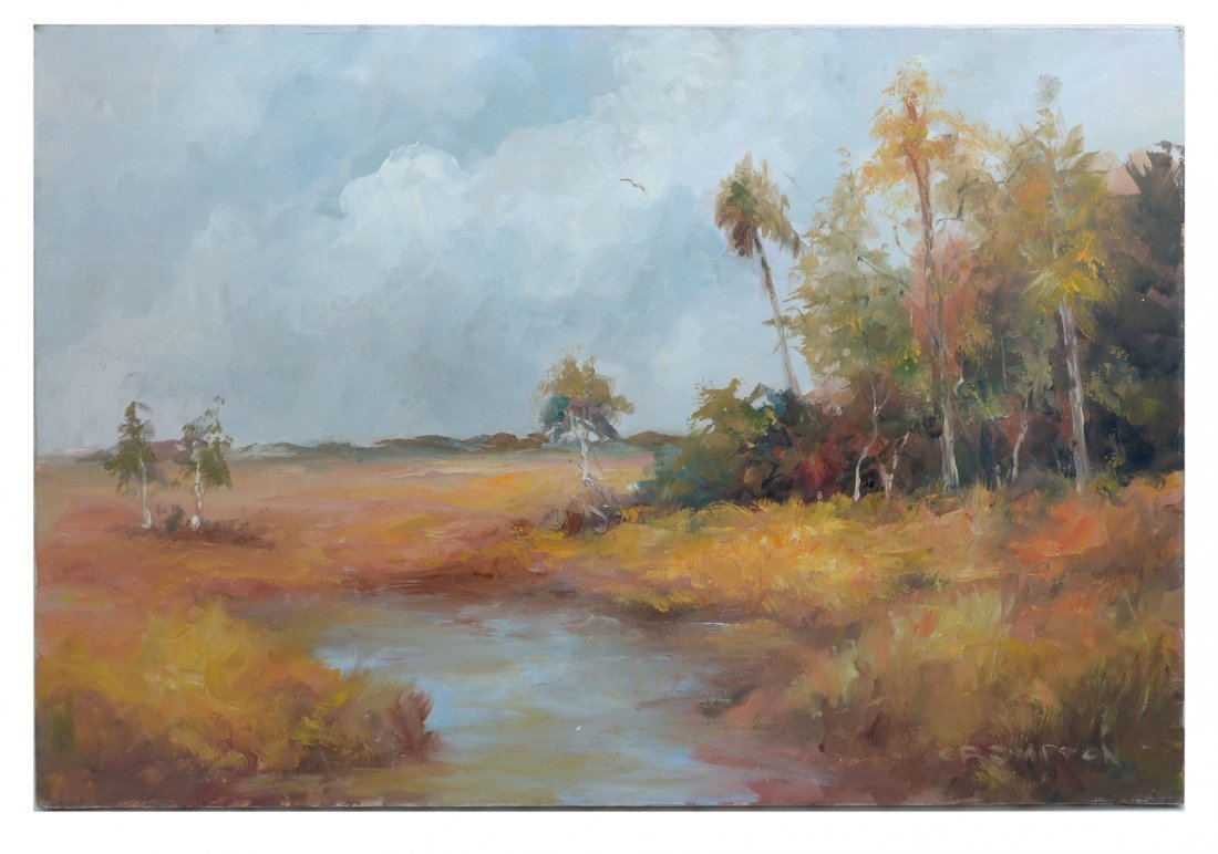 CROMPTON PAINTING FLORIDA LANDSCAPE WITH RIVER